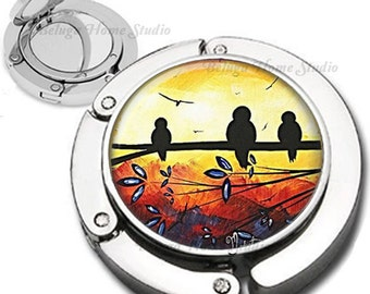 Tuscanny Birds Foldable Purse Hook Bag Hanger With Lipstick Compact Mirror