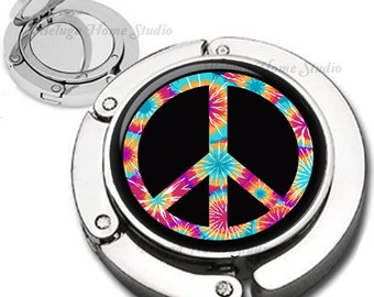 Tie Dye Peace Sign Foldable Purse Hook Bag Hanger With Lipstick Compact Mirror