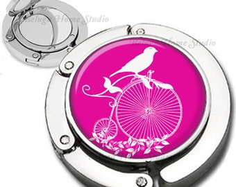 Hot Pink and White Penny Farthing Bicycle Bird Silhouette Purse Hook Bag Hanger Lipstick Compact Mirror