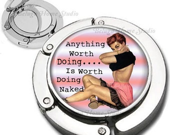Sassy Lets Get Naked Pinup Girl Purse Hook Bag Hanger Lipstick Compact Mirror
