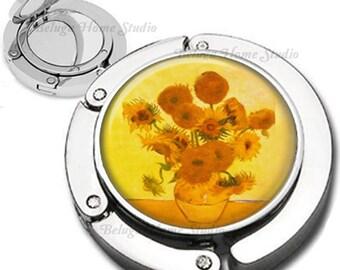 Van Gogh Yellow Flowers in Vase Purse Hook Bag Hanger Lipstick Compact Mirror