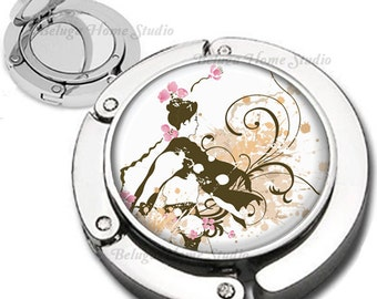 Geisha With Flourishes and Swirls Foldable Purse Hook Bag Hanger With Double Sided Compact Mirror