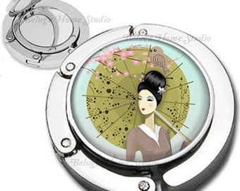 Geisha With Sakura Flowers Bird and Parasol Purse Hook Bag Hanger Lipstick Compact Mirror