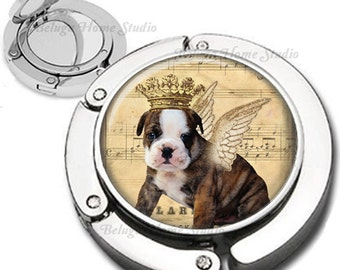Royal Dog with Wings and Crown Purse Hook Bag Hanger Lipstick Compact Mirror