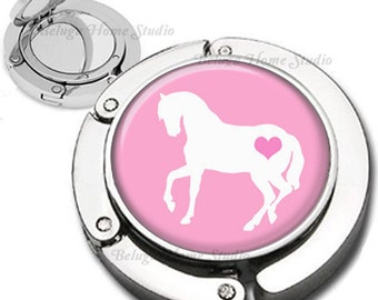 Heart Horses in Pink and White Purse Hook Bag Hanger With Double Sided Compact Mirror