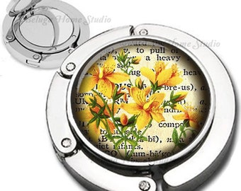 Yellow Flowers on Handwriting Foldable Purse Hook Bag Hanger With Lipstick Compact Mirror
