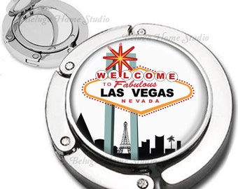 Welcome to Las Vegas Purse Hook Bag Hanger Lipstick Compact Mirror