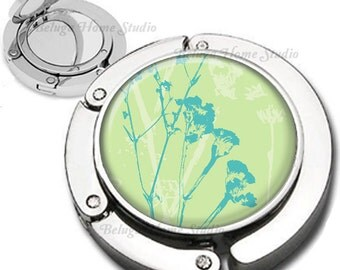 Abstract Floral in Blue and Green Purse Hook Bag Hanger Lipstick Compact Mirror