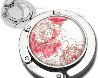 Pink Peony Flowers Illustration Purse Hook Bag Hanger With Lipstick Compact Mirror