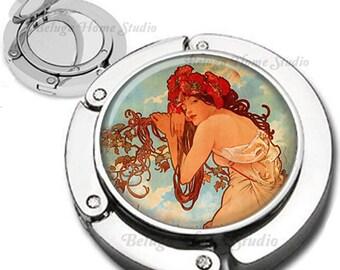 Summer Alphonse Mucha  Art Nouveau Purse Hook Bag Hanger Lipstick Compact Mirror