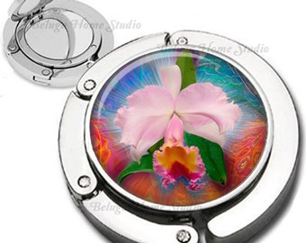 Orchid Floral Composition Purse Hook Bag Hanger Lipstick Compact Mirror
