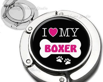 Pink Black White Dog Bone  I Love My Boxer or Your Favorite Breed  Foldable Purse Hook Bag Hanger With Lipstick Compact Mirror