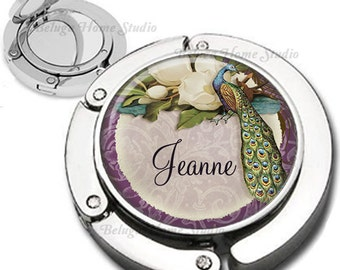 Personalized Vintage Peaccck in Purple, Green, Teal and Brown Purse Hook Bag Hanger Lipstick Compact Mirror