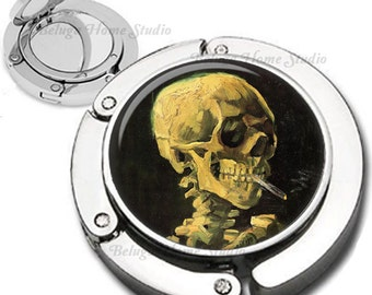 Van Gogh Skull With Burning Cigarette Purse Hook Bag Hanger Lipstick Compact Mirror