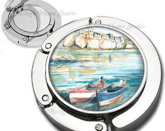 Scenic Boats on Water Watercolor Purse Hook Compact Mirror Foldable Bag Hanger