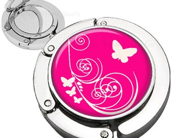 Butterfly Swirls Hot Pink Purse Hook  Bag Hanger With Lipstick Compact Mirror