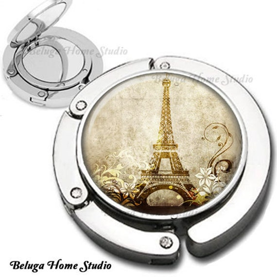 Eiffel Tower with Flourishes and Swirls in Sepia Purse Hook Bag Hanger Lipstick Compact Mirror