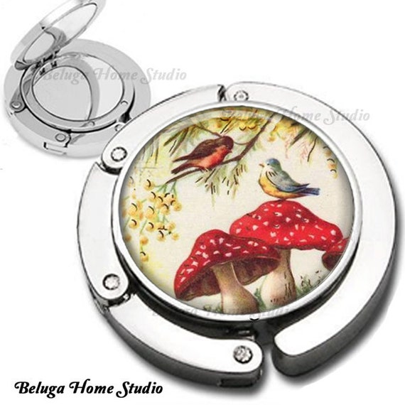 Birds and Red Mushrooms Foldable Purse Hook Bag Hanger With Lipstick Compact Mirror