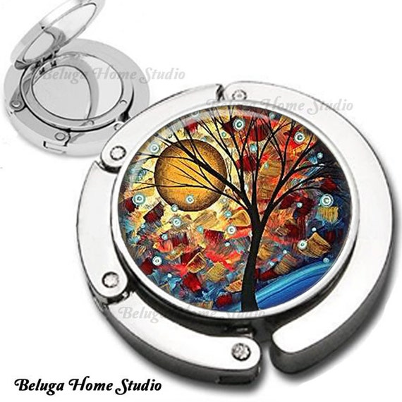 Yellow Harvest Moon Whimsical Trees Purse Hook Bag Hanger Lipstick Compact Mirror