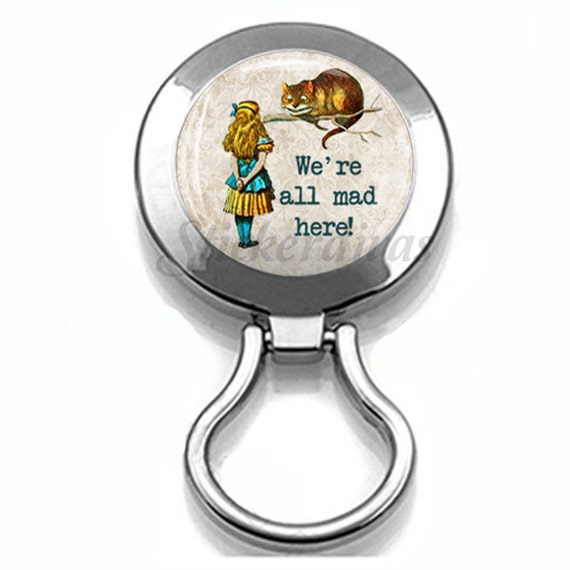 Alice in Wonderland Cheshire Cat Quote We Are All Mad Here Magnetic Eyeglass Holder Brooch Pin ID Badge Holder