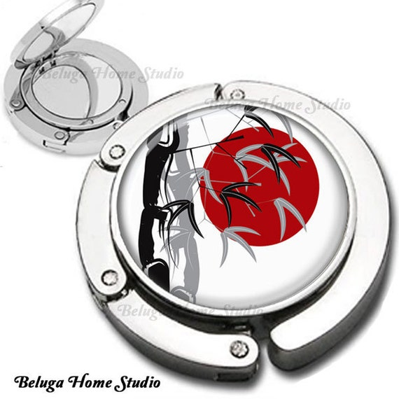 Red Moon Black and Gray Bamboo Asian Inspired  Purse Hook Bag Hanger Lipstick Compact Mirror