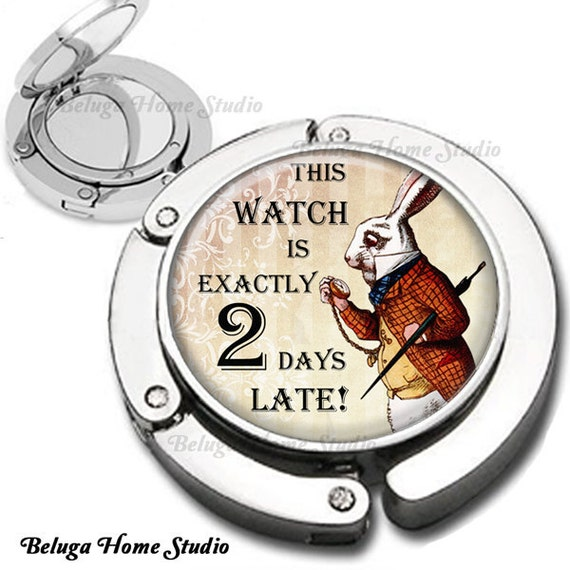Rabbit with Stopwatch from Alice in Wonderland Purse Hook Bag Hanger Lipstick Compact Mirror
