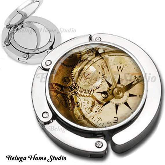 Beyond Time Steampunk Compass Sepia Foldable Purse Hook Bag Hanger With Lipstick Compact Mirror