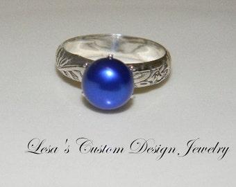 Art Deco Royal Blue Pearl Ring