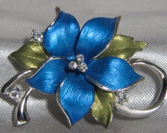 1980's Blue Enameled Floral Brooch with Rhinestones