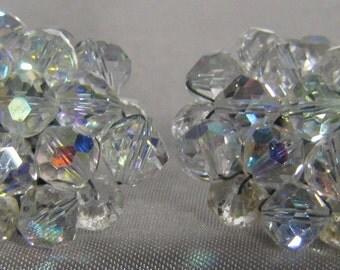 Vintage Crystal Aurora Borealis Rhinestone Clip Earrings
