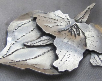 Handcrafted Sterling Orchid Brooch