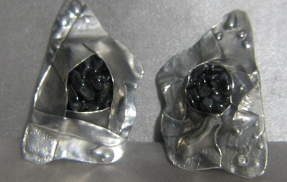 Rare 1988 - 1989 Vintage Margaret Ellis Sterling and Hemitites Earrings