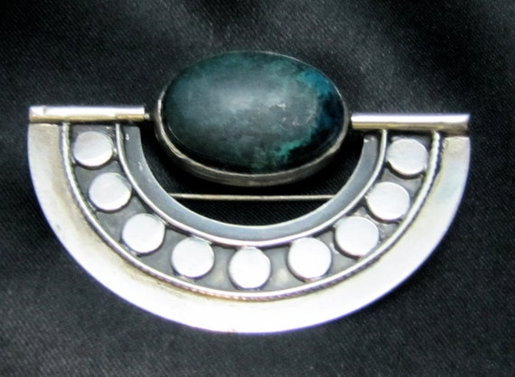 Unique Sterling Swivel Brooch with Israeli Eilat and Onyx Stones