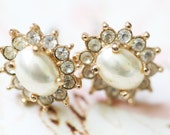 Vintage  Earrings Pearls and Crystal by Roman
