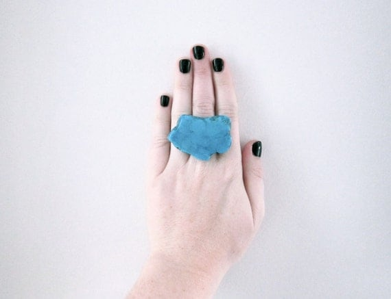 large turquoise slice ring - turquoise ring, adjustable ring, turquoise stone, turquoise agate, agate ring