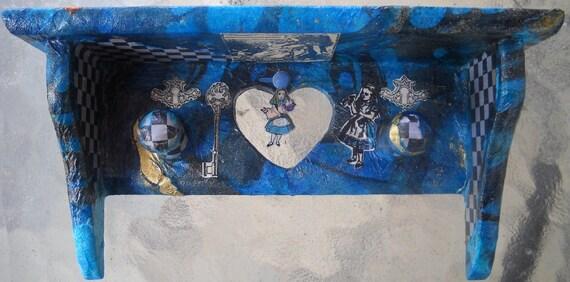 Small Blue Alice In Wonderland Decoupage Collage Wall Shelf