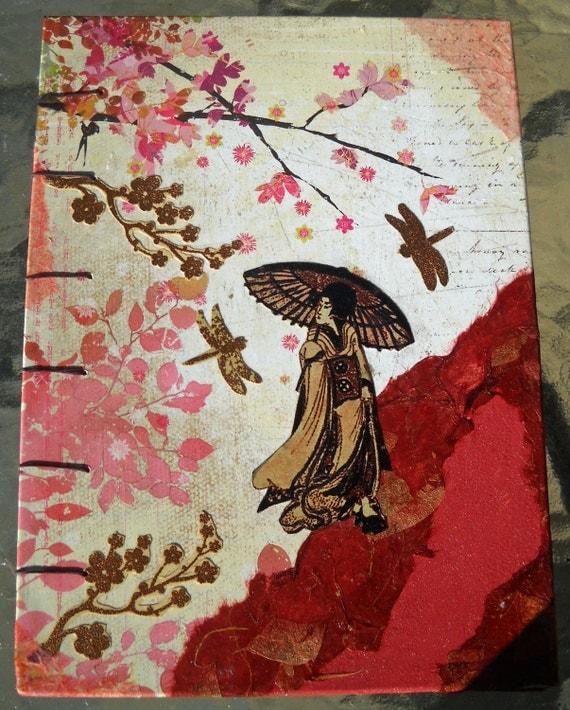 Geisha Cherry Blossoms Handmade Decoupaged Coptic Stitched Blank Upcycled Journal