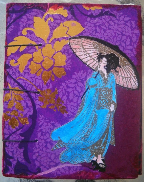 Handmade Mini Geisha Coptic Stitched Journal/Sketchbook