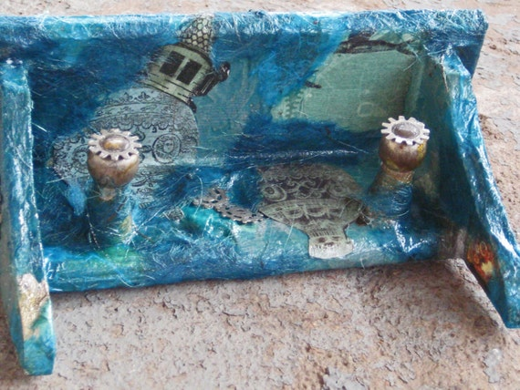 Small  Turquoise Steampunk Collage Wall Shelf