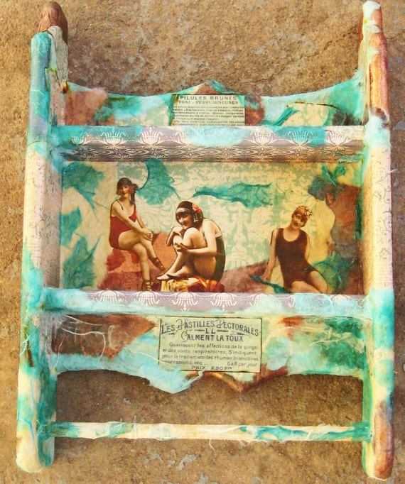 Two Tier Victorian Bath House in Aqua Collage  Wall Shelf