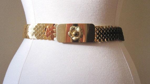 Gold Belt Metal Belt Vintage Belt Statement Belt 50s accessories Mid Century Belt