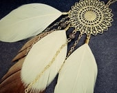 S A L E Gold Filigree and Champagne Feather Necklace