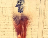 Turquoise Hamsa Beaded Feather Hair Extension