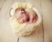 the Grace : Newborn Headband - Straw Yellow - Newborn Photo Prop -  halo, bow headband, head band, photography prop