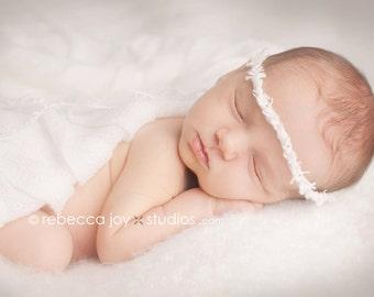 Newborn Prop Headband - the Eternal - Pure White  - Newborn Photo Prop -  halo, blanket, wrap, flower headband