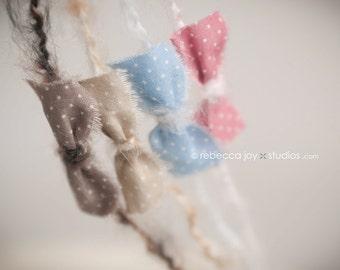 Newborn photo prop Headband  - the Darling - Sky Blue - Newborn Photo Prop - polka dots, halo, bow headband, head band, photography prop