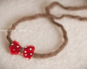 Newborn Headband - the Amore - red bow with brown ties -  Newborn Photo Prop - polka dots, halo, bow headband, photography