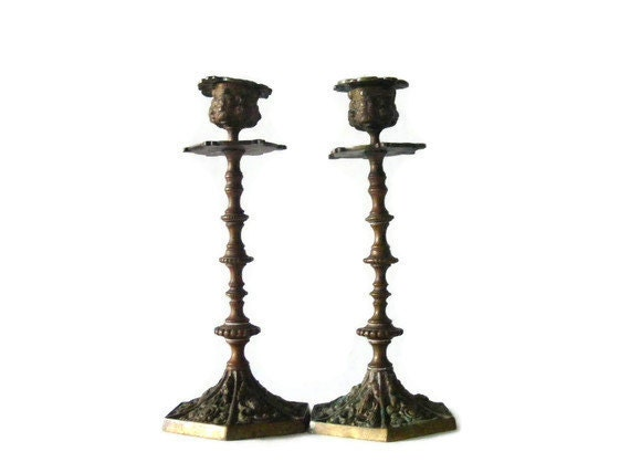 Pair of Early 20th Century Oxidized Brass Ornate Vintage Candlesticks