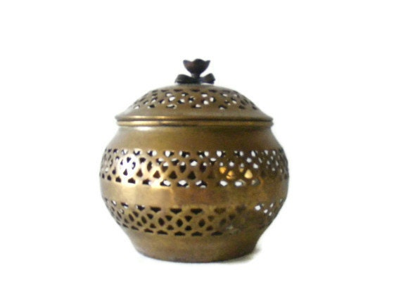 1960s Brass Floral Cutwork Vintage Canister with Lid