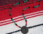 Cherokee Inspired Necklace with Turquoise, Red Coral and Onyx - FREE SHIPPING - Item 049